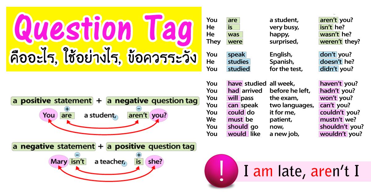 การใช้ Question Tags คืออะไร ใช้อย่างไร โครงสร้าง การถาม ...