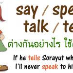 say / speak / talk / tell ต่างกันอย่างไรบ้าง การใช้ ความหมาย ตัวอย่างประโยค พร้อมแปล